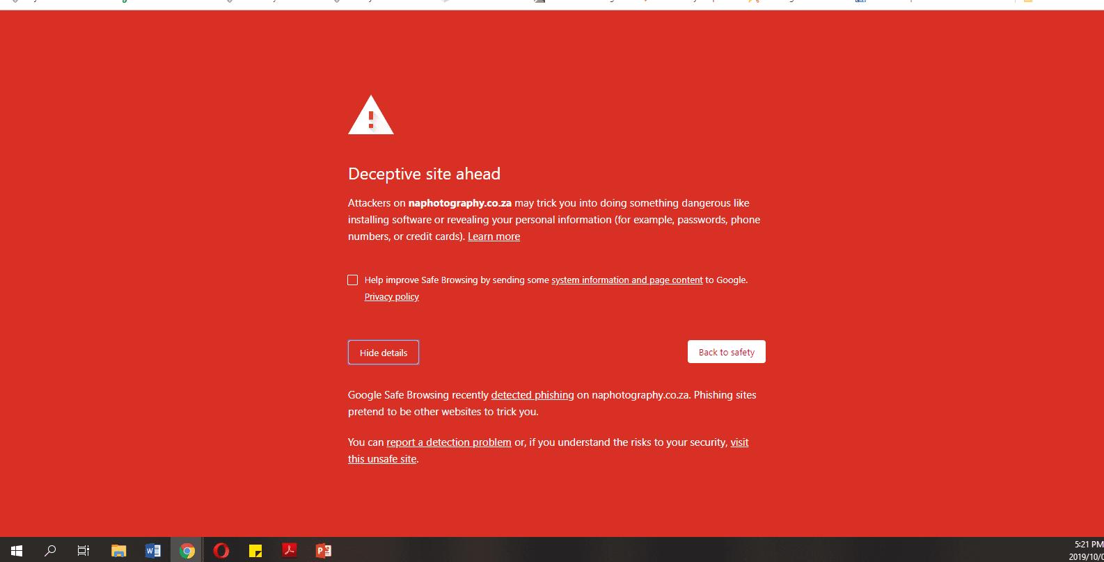 browser warning